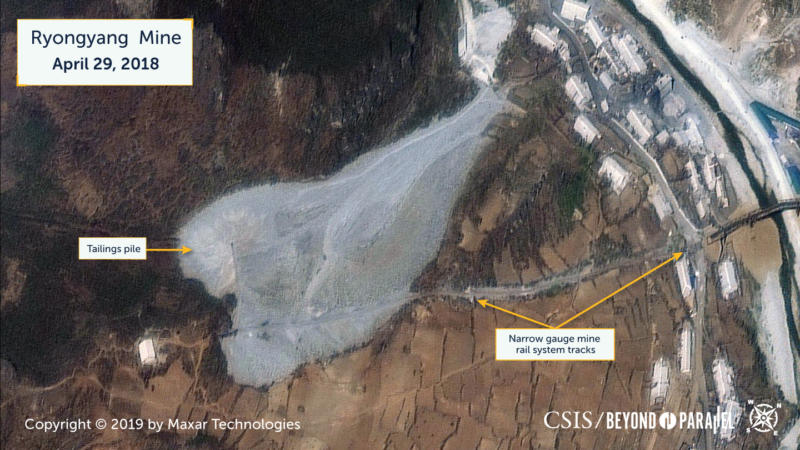 Tailings pile in the Kumgol-tong 1 area, April 29, 2018. (Copyright 2019 by Maxar Technologies)