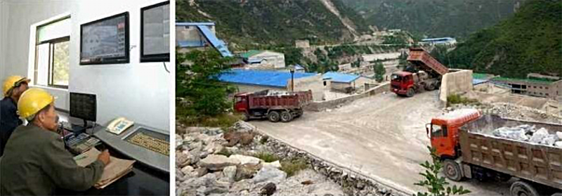 Surface Rock Crusher (DPRK Today, 2018.08.20).png. Mine dump trucks unloading ore into a rock crusher (r). What appears to be a control room monitoring operations (l). Both are reported to be at the Ryongyang Mine.