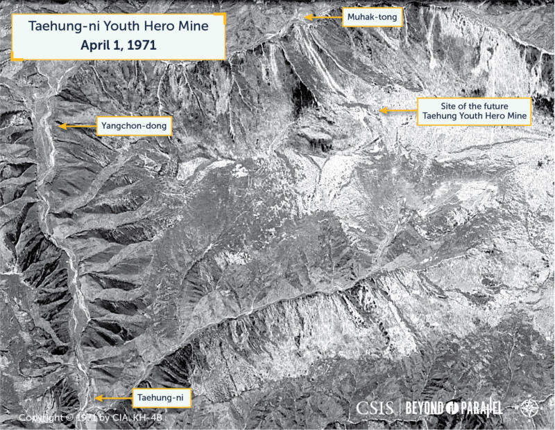 An April 1, 1971 overview of the area that would eventually encompass the Taehung Youth Hero Mine. No evidence of significant mining or support infrastructure is visible. (Declassified KH-4B satellite image,CIA)